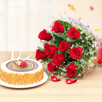 Blooming Butterscotch Combo - 10 Red roses bunch with Half kg butterscotch cake