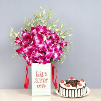 Cake N Orchids Combo - 6 Purple Orchids in Floral Box for Sister 0.5 Kg Blackforest Cake