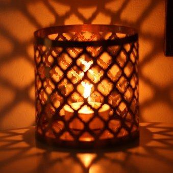Calming Core Candle Holder - Moroccan Copper Metal Tea Light Holder