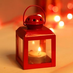 Candle Light Booth - Mini Hurricane Red Table Lantern