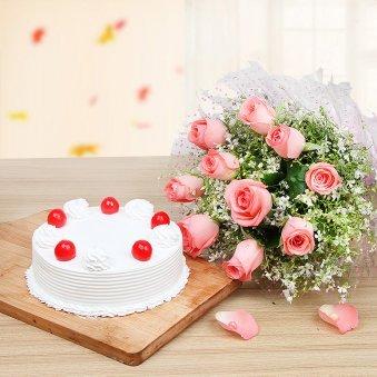 Cherry Vanilla Roses - Combo of 10 Pink roses bunch and Half kg vanilla cake