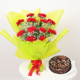 Choco Cake N Carnation Arrangement