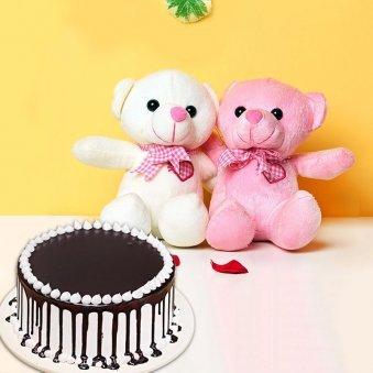Choco Drip Softy Combo - Two 6 Inch Teddies with 500 gm Chocolate Cake