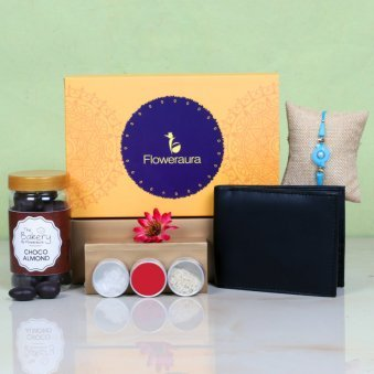 Choco Rakhi Hamper With Wallet - One Designer Rakhi and Roli and Chawal and Choco Almonds and One Floweraura Signature Box
