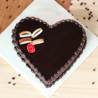 Heart Shape Dark Chocolate Cake