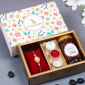Top View of Chocolate Rakhi Combo - Rakhi Signature Boxes
