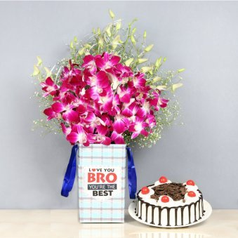 Orchids and Blackforest Cake Combo for Brother