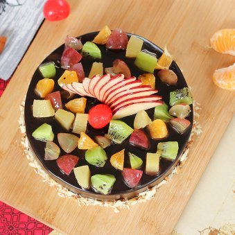 Fruit Filled Chocolate Cake - Top View