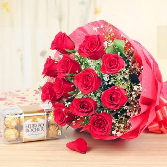 Chocolicious Roses Combo of 12 red roses and 16 Ferrero Rocher chocolates for lovers