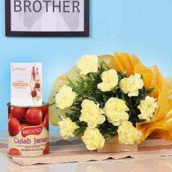 Rakhi With Flowers - Rakhi With Ten Yellow Carnations