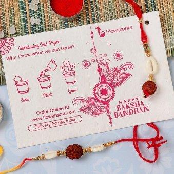 Rakhi Card in Rakhi With Flowers - Rakhi With Ten Yellow Carnations