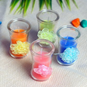 Colorful Flower Candles - Set of 4 Cylindrical Colorful Ribbon Tea Lights
