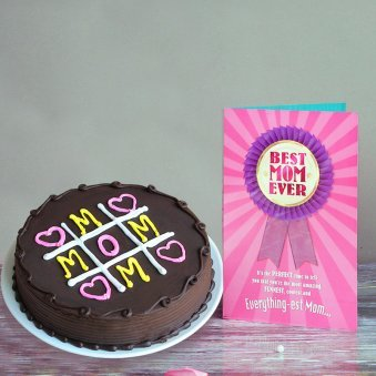Chocolate Cake with Greeting Card for Mom