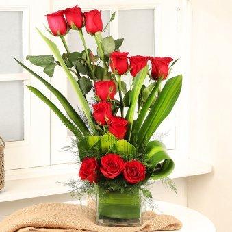 Red Roses Arrangement in Square Vase