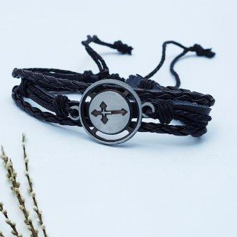 Cross Charm Black Bracelet