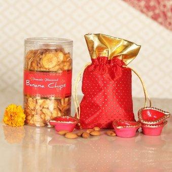 Crunchy Banana Chips N Almond Combo - Diwali Gift