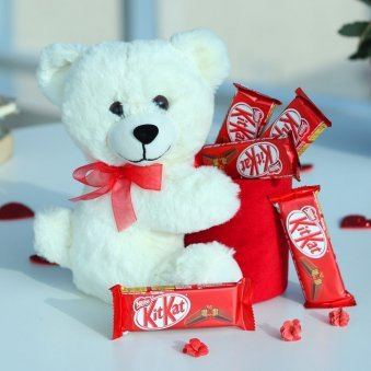 Teddy with Kit Kat Chocolate Combo Valentine Day Gift