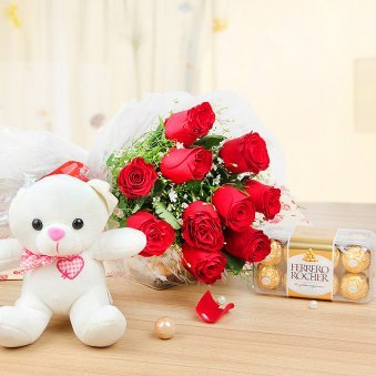 Cuddly Choco Fantasy - Combo of 12 Roses with a 6 inches Teddy and 16 Ferrero Rochers