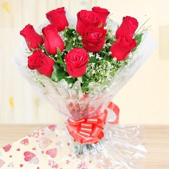 Bunch of 12 Red Roses - 1st Gift of Cuddly Choco Fantasy