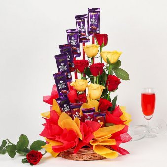 Dairy Milk and Roses Chocolate Bouquet