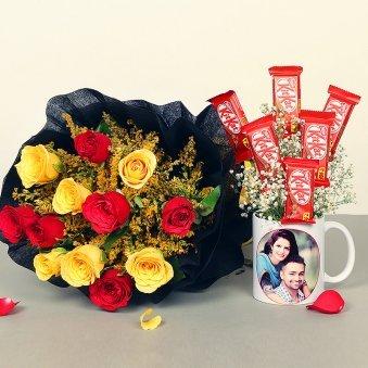 Custom Kitkat Mug and Roses Bouquet