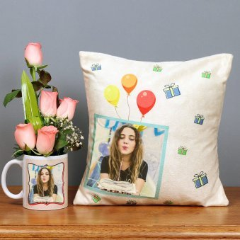 One Personalised Mug and Personalised Cushion with 5 Pink Roses