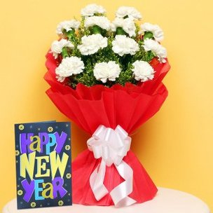 White Carnations and Greeting Card Combo