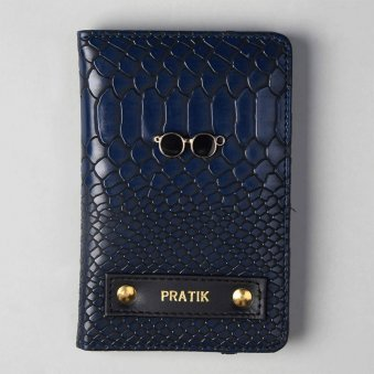 Designer Navy Blue Passport Wallet