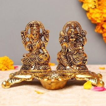 Divine Blessing Set5 Inch Laxmi & Ganesha Metallic Idols with Diya