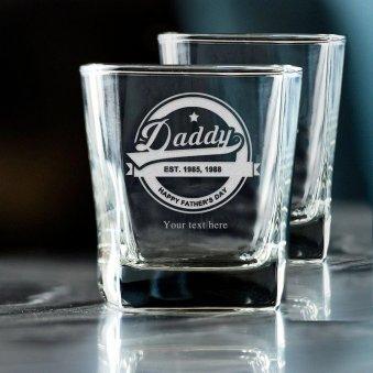 Elegant Fathers Day Whiskey Glass