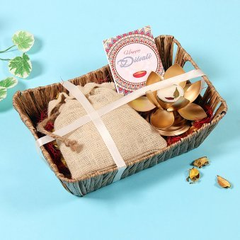 Elegant Sparkle Diwali ComboMetallic Lotus Tealight Holder and Mixed Dry Fruits in Jute Potli Happy Diwali Card