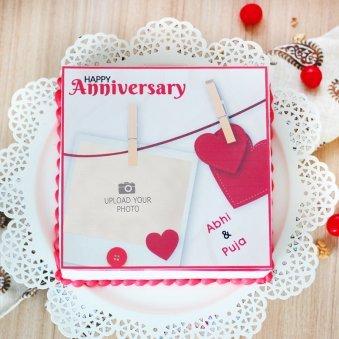 Sweet Photo Anniversary Cake - Top View