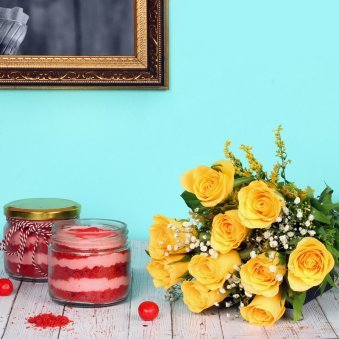 Eternal Velvety Love - Bunch of 12 Yellow Roses with 2 Red Velvet Jar Cakes