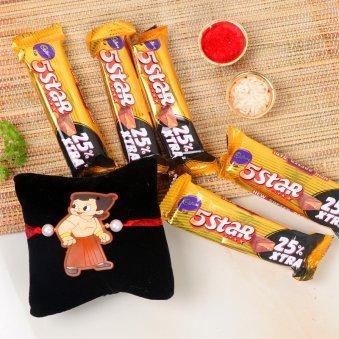 Five Star Bheem Rakhi - One Chota Bheem Rakhi with Roli and Chawal and 5 Cadbury 5 Star Chocolates - 19.5gm each