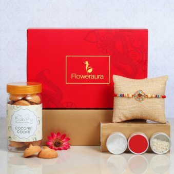 Floral Rakhi With Almonds - One Metal Rakhi with Roli and Chawal and Coconut Cookies and One Floweraura Signature Box