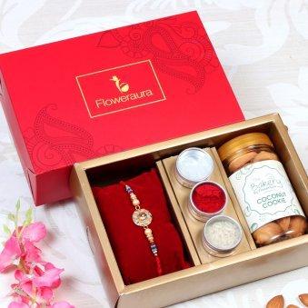 Floral Rakhi With Cookies - Rakhi Signature Boxes