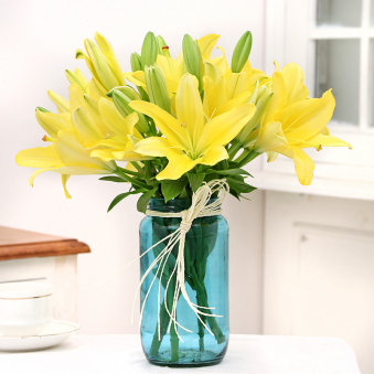 Arrangement of 6 Yellow Lilies -Fragrant Yellow Lilies