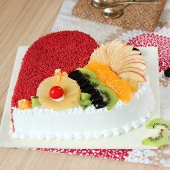 Heart Shape Red Velvet Fruit Filled Cake with Side View