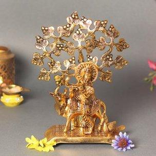 Gau Krishna Under Tree Idol - Material - Metal