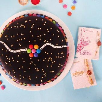 2 Rakhi Set with Chocolate Cake