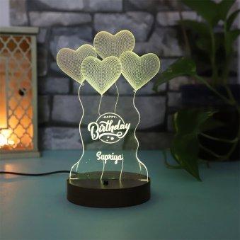 Customised LED Acrylic Multicolour Heart Balloon Night Lamp for Birthday