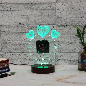 Name Printed LED Acrylic Multicolour Lamp - I Love You Gift for Girlfriend