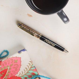 Golden Black Personalised Pen For Husband - Birthday Gift Online