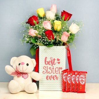 Goodness Combo For Sister - 10 Mixed Roses in Floral Box for Sister 6 Inch Teddy 5 Nestle Kitkats