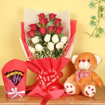 Bunch of Mixed Roses with Teddy and Chocolates Combo