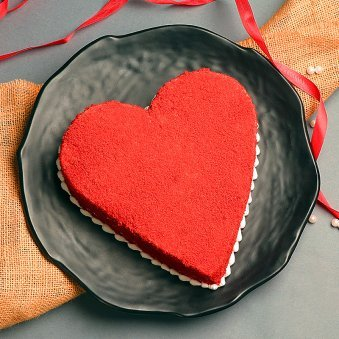 Heart shaped 1kg red velvet cake - Part of Grandiose Love