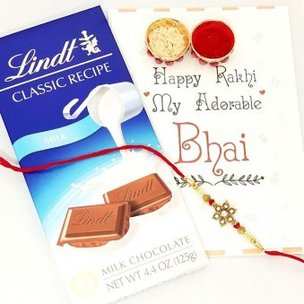 Greet Treat Rakhi Combo - One Designer Rakhi and Lindt Chocolate with Greeting Card for Brother and Roli Chawal