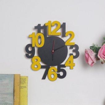 Grey Mustard Wall Clock