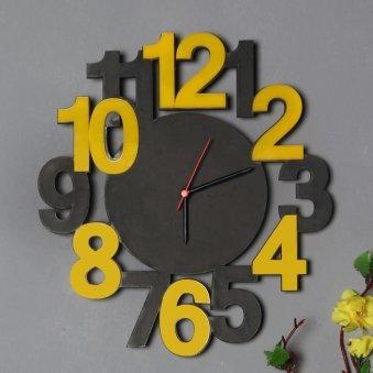 Close view of Grey Mustard Wall Clock
