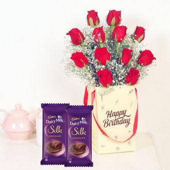 Hbd Red Roses N Silk Combo - Bunch of 12 Red Roses with Birthday Flower Box and 2 Dairy Milk Silk